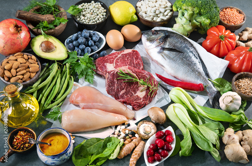 Poster Nature Balanced diet food background