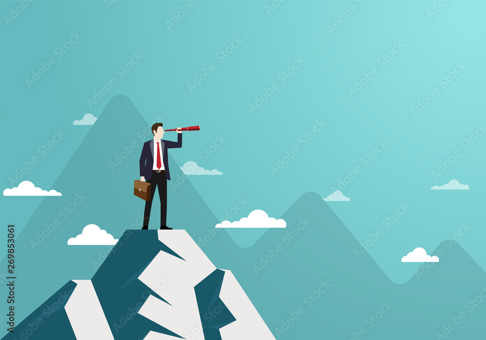 Fototapeta Successful vision concept with character of businessman and telescope