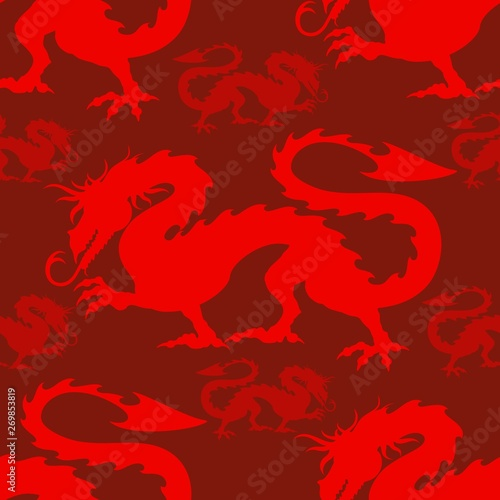 Photo Stands Draw Dragon Red Mythological Creature Vector Seamless repeat textile Pattern