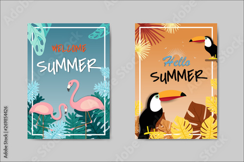 Staande foto Retro sign Beautiful Summer Card lettering card