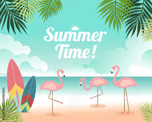 Poster Echelle de hauteur Beautiful Summer banner and poster card