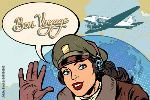 Photo Bon voyage girl woman retro Aviator pilot
