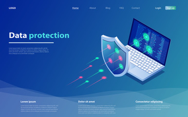 Data protection concept. Network data security. Safety, confidential data protection, concept with character saving code.