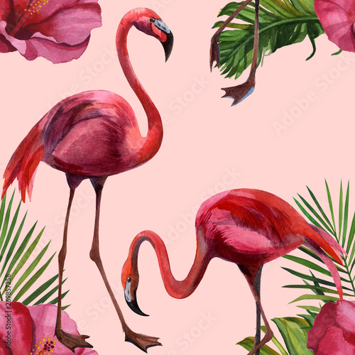 Naklejki Flamingi  naklejka-na-wymiar-watercolor-tropical-wildlife-flamingo-bird-seamless-pattern-hand-drawn-jungle-nature-flowers-illustration-print-for-textile-cloth-wallpaper-scrapbooking