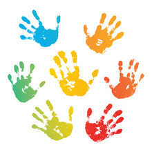 Hand Rainbow Print Isolated On White Background. Color Child Handprint. Creative Paint Hands Prints. Happy Childhood Design. Artistic Kids Stamp, Bright Human Fingers And Palm. Vector Illustration