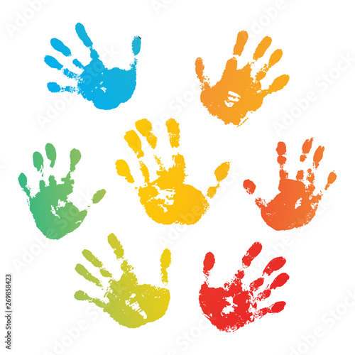 Hand rainbow print isolated on white background Tapéta, Fotótapéta