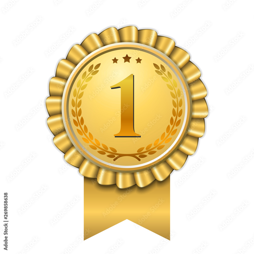 Fototapeta Award ribbon gold icon number first. Design winner golden medal 1 prize. Symbol best trophy, 1st success champion, one sport competition honor, achievement leadership, victory. Vector illustration