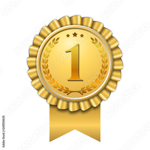 Award ribbon gold icon number first. Design winner golden medal 1 prize. Symbol best trophy, 1st success champion, one sport competition honor, achievement leadership, victory. Vector illustration Fototapete