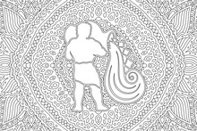Coloring Book Page With White Aquarius Silhouette