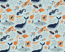 Vector Seamless Pattern With Fish And Sea Animals.