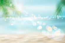 Sunrise On The Seashore. Sandy Beach With A Palm Tree. Tropical Resort. Vector Illustration.