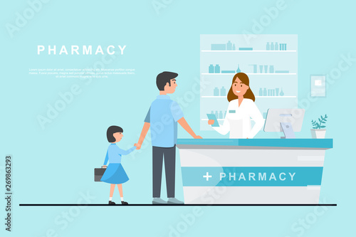 Stampa su Tela  pharmacy with pharmacist and client in counter