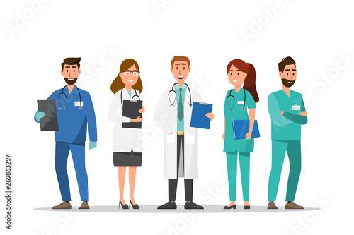 Carta da parati Set of doctor and nurse cartoon characters