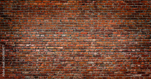 Photo sur Toile Brick wall Brick wall of red brown color