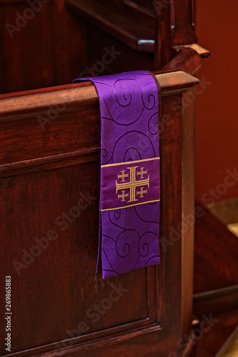 confessional in a Catholic church Canvas Print