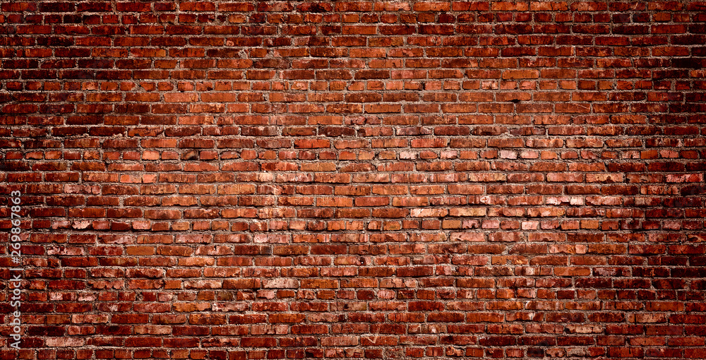 Brick wall of red color