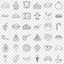 Pastry Shop Cons Set. Outline Style Of 36 Pastry Shop Vector Icons For Web For Any Design