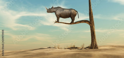 Photo sur Toile Beige Lonely rhino on tree