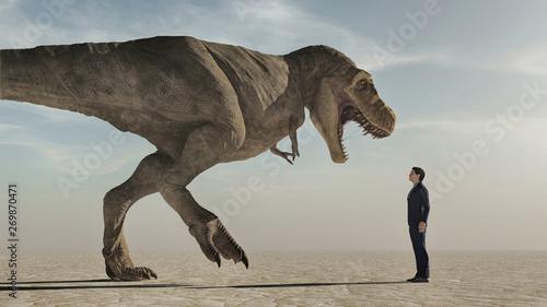 Confront the dinosaur Tablou Canvas