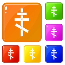 Orthodox Cross Icons Set Collection Vector 6 Color Isolated On White Background