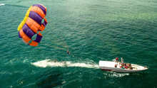 Parachute Riding With Boat Sea View Bali Indonesia