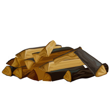 A Pile Of Dry Firewood For The Stove Isolated On White Background. Natural Organic Fuel. Vector Cartoon Close-up Illustration.
