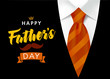 Happy father`s day vector lettering background. Happy Fathers Day calligraphy banner with with brown striped tie and men`s suit. Dad my king, vector illustration