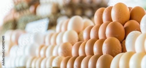 Poster Nature Fresh eggs sold on the street market stall