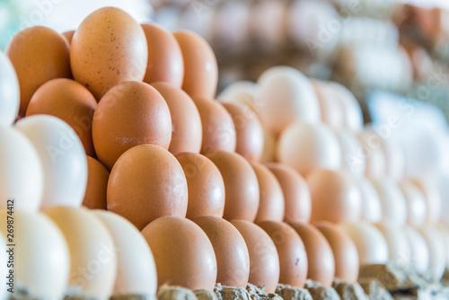 Fresh eggs sold on the street market stall
