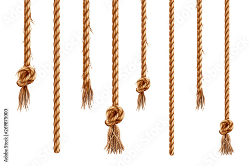 Obraz Set of isolated hanging ropes with tassels. 3d hemp string with brush and frayed knot. Realistic knotted nautical thread. Tied ring or bell whipcord. Nautical or marine vertical fiber. Straight cable - fototapety do salonu