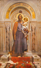 OSSUCCIO, ITALY - MAY 8, 2015: The Fresco Of St. Joseph In Church Sacro Monte Della Beata Vergine Del Soccorso By F. Grandi  (end Of 19. Cent.).