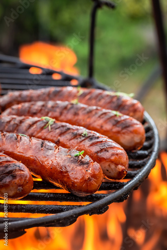 Fotografía Delicious sausage on grill with spices and herbs in summer