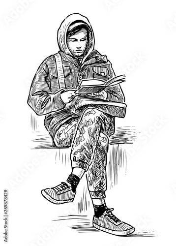 Hand Drawing Of A Student Reading A Book On A Park Bench Buy