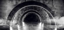 Smoke Corridor Spaceship Neon Glowing Futuristic Sci Fi White Laser Stage Empty Tunnel Reflective Concrete Grunge Oval Arc Alien 3D Rendering