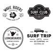 Vintage Surfing Emblems for web design or print. Surfer logo templates. Surf Badges. Summer fun. Surfboard elements. Outdoors activity - boarding on waves.