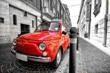 Red Fiat 500 In Italy Color Sp...