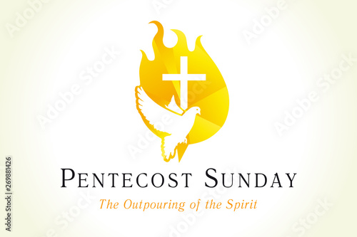 Valokuvatapetti Pentecost sunday banner with dove & cross in flame