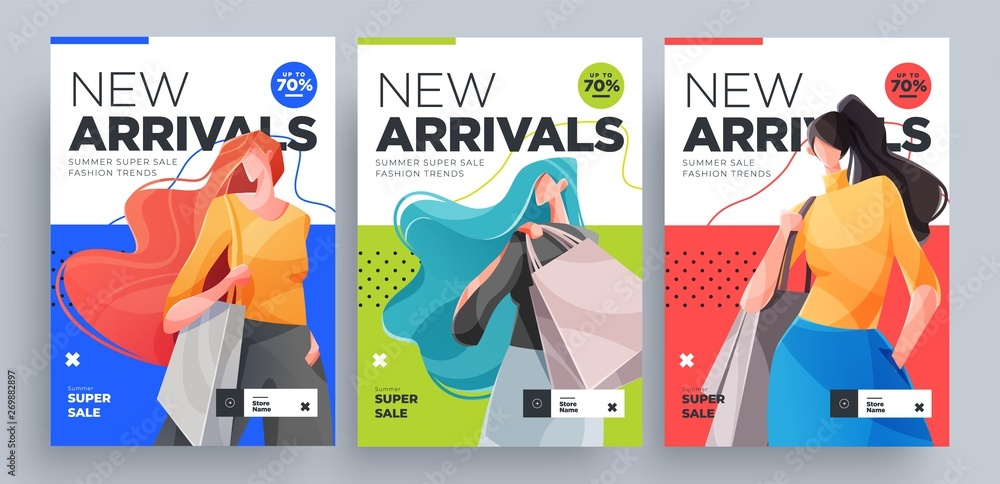 Fototapety, obrazy: Urban shopping girls banners set. Fashion girls with shopping bags. Vector