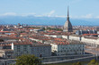 Turin skyline view and Mole Antonelliana tower in a sunny summer day in Italy