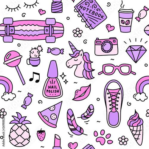 Teenager girl favorite cool things pink seamless pattern doodle #269888201