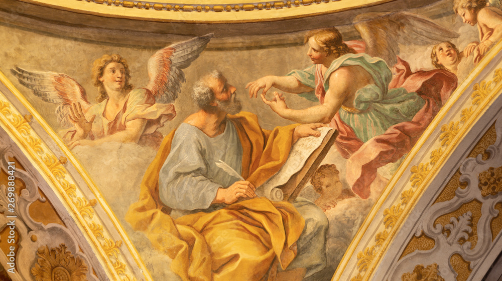 Fototapety, obrazy: ACIREALE, ITALY - APRIL 11, 2018: The fresco of St. Matthew the Evangelist from the cupola of Duomo by Pietro Paolo Vasta (1735-1739).