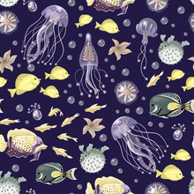Seamless Pattern With Sea Inhabitans And Herb.