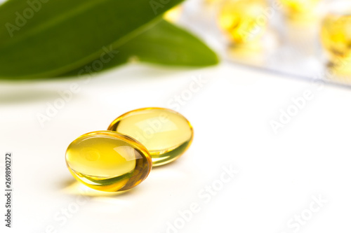 Fish oil in capsules. For health and immunity isolated on white Fototapeta