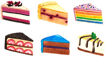 Watercolor Cake Slices Collect...