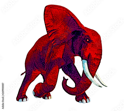 Charging Red Elephant - Stylized Distressed
