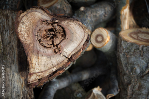 Türaufkleber Brennholz-textur Close-up of a heart-shaped saw cut down firewood for heating a house, background or concept