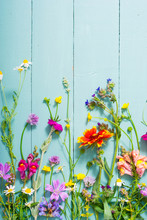 Herbal And Wildflowers On Blue...