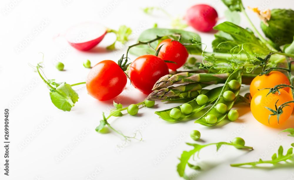 Fototapety, obrazy: Fresh green  peas pods, radish, green asparagus, tomatoes