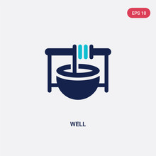 Two Color Well Vector Icon From Farming Concept. Isolated Blue Well Vector Sign Symbol Can Be Use For Web, Mobile And Logo. Eps 10