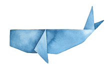 Blue Whale Origami Watercolour Illustration. Symbol Of Dreams, Fantasy, Traveling. Handdrawn Water Color Graphic Drawing On White, Cutout Clipart Element For Creative Design, Poster, Card, Invitation.